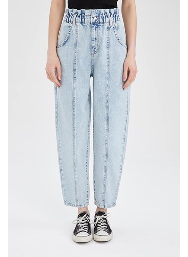 DeFacto Coool Paper Bag Yüksek Bel Yıkamalı Jean Pantolon Mavi